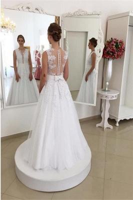 Elegant Sleeveless Sweep Train Tulle V-neck Applique Wedding Dresses_3
