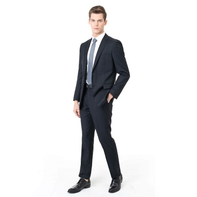 Custom Made Peak Lapel Two Pieces with Pants Casual Suits_1