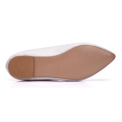 Woman Round Toe PU Flat Wedding Shoes_7