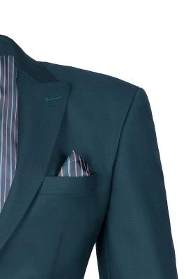 Dark Green Stylish Design Back Vent Peak Lapel Slim Fit Wedding Suit_3