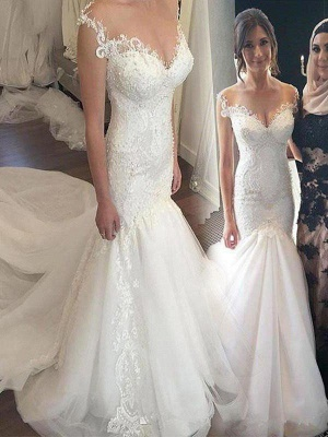 Chapel Train Applique Sexy Mermaid Wedding Dresses | Off-the-Shoulder Sleeveless Tulle Bridal Gowns_1