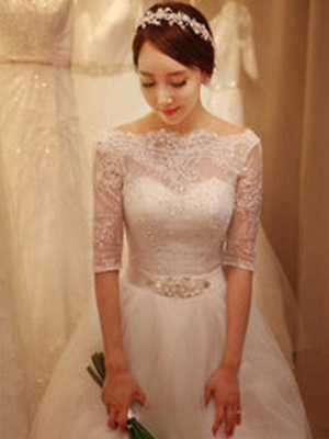 Off-the-Shoulder 1/2 Sleeves Chapel Train Tulle Puffy Beaded Wedding Dresses_5