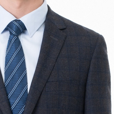 Slim Fit Peak Lapel Two-piece Suit Lattice Casual Suits_4