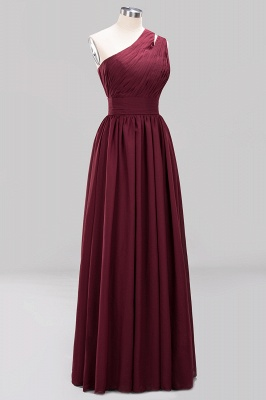 Elegant A-Line Burgundy One-Shoulder Sleeveless Ruffles Floor-Length  Bridesmaid Dresses_9