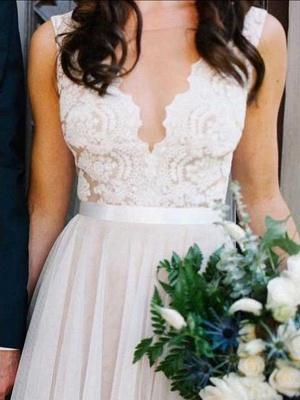 Glamorous Sleeveless Floor-Length Scoop Lace Tulle Wedding Dresses_4