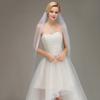One Layer Cathedral Wedding Veil with Comb Tulle Lace Edge Bridal Veil_3
