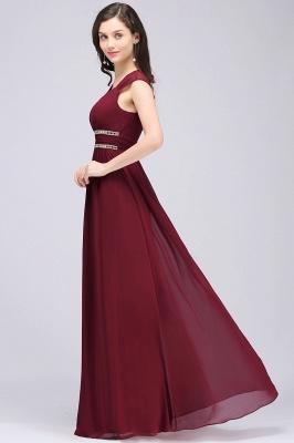 Vintage A-Line  V-Neck Cap Sleeve Ruffles Floor-Length Bridesmaid Dresses with Beadings_4