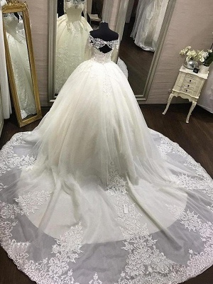 Cathedral Train Tulle Off-the-Shoulder Puffy Long Sleeves Applique Wedding Dresses_4