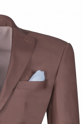 Chocolate Stylish Design Peak Lapel Two Button Single Breasted Wedding Suit_4