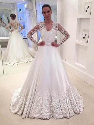 Stunning V-neck Satin Sweep Train Long Sleeves Wedding Dresses_1