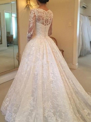 Glamorous Long Sleeves Ruffles Puffy Scoop Cathedral Train Lace Wedding Dresses_3