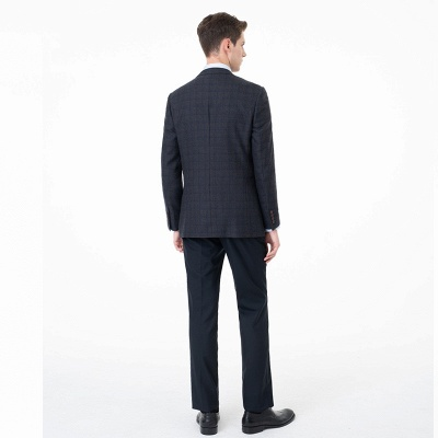 Slim Fit Peak Lapel Two-piece Suit Lattice Casual Suits_2