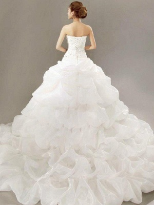 Glamorous Cathedral Train Beaded Puffy Strapless Organza Lace Pleats Sleeveless Wedding Dresses_3