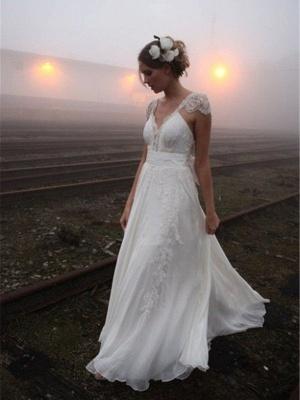 V-neck Floor-Length Sleeveless Lace Chiffon  Wedding Dresses_1