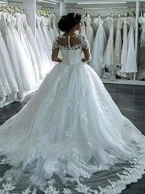Glamorous Scoop Applique Long Sleeves Puffy Chapel Train Tulle Wedding Dresses_3