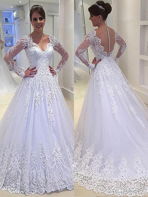 Tulle V-neck Court Train Long Sleeves Applique Wedding Dresses_1