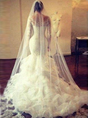 Scoop Court Train Tulle Long Sleeves Sexy Mermaid Lace Wedding Dresses_4