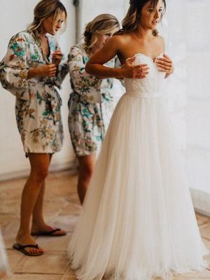 Glamorous Floor-Length Tulle Ruched Sweetheart Sleeveless Wedding Dresses_4