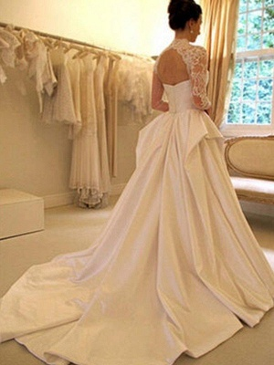 Puffy Long Sleeves High Neck Chapel Train Satin Lace Wedding Dresses_3