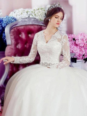 Glamorous Cathedral Train Long Sleeves Applique V-neck Lace Tulle Wedding Dresses_1