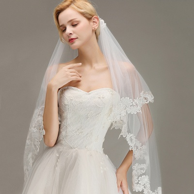 Lace Edge Wedding Veil with Comb Two Layers Tulle Bridal Veil_5