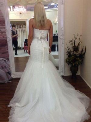 Tulle Floor-Length Beaded Sleeveless Sweetheart Sexy Mermaid Wedding Dresses_3