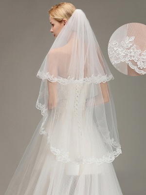 Two Layers Lace Edge Wedding Veil with Comb Soft Tulle Bridal Veil_1