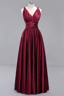 Elegant Long Burgundy Satin One Shoulder Bridesmaid Dresses_9