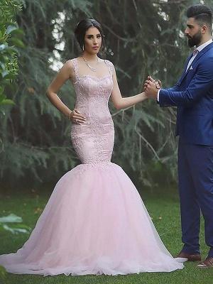 Alluring Sleeveless Sweep Train Sexy Mermaid Wedding Dresses_1