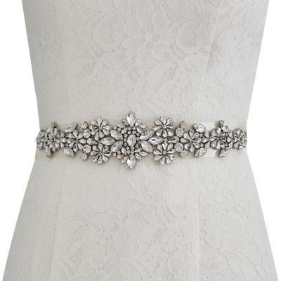 Satin Flowers Pattern Wedding Sash with Pearls_2