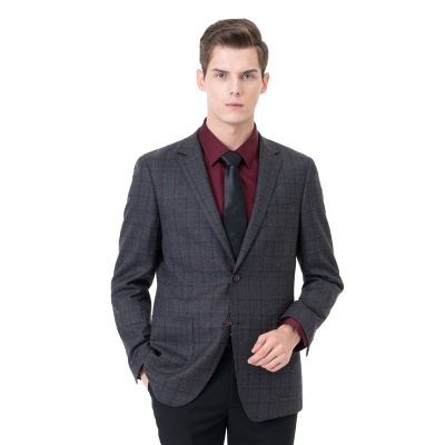 Career Suits Two Button Single Breasted Lattice Peak Lapel_3