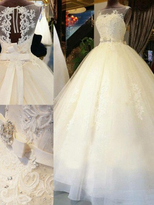 Cathedral Train Sleeveless Ribbon Scoop Applique Tulle Puffy Wedding Dresses_4