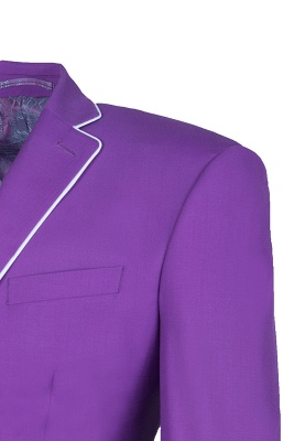 Lilac Latest Design Peak Lapel Single Breasted Two Button Wedding Suit_5