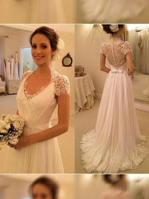 Sleeveless Sexy Lace Wedding Dresses | V-neck Chiffon Sweep Train Bridal Gowns_1