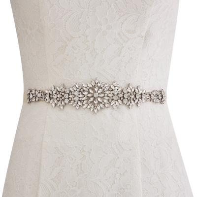 Satin Crystal Wedding Sash with Rhinestone_1