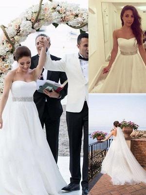 Elegant Sleeveless Sweep Train Sweetheart Tulle Beaded Wedding Dresses_1