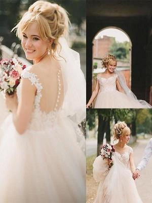 Romantic Court Train Sleeveless Tulle Scoop Wedding Dresses_1