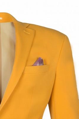 Custom Made Slim Fit Orange Peak Lapel One Button Casual Suit Groomsmen_4