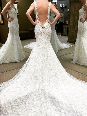 Shabby Chic Lace Floor-Length Short Sleeves Puffy Off-the-Shoulder Wedding Dresses_1