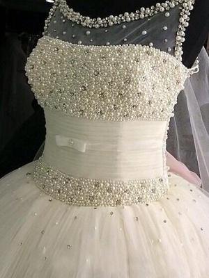 Beaded Scoop Sleeveless Floor-Length Tulle Puffy Wedding Dresses_3