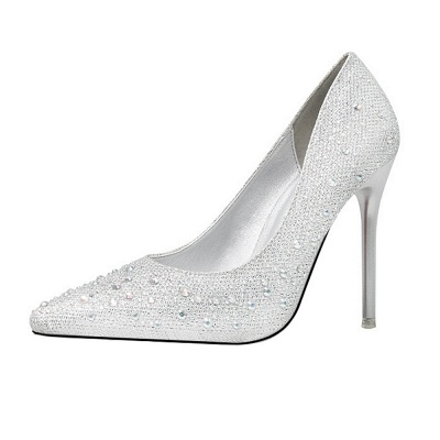 Fashion Pionted Toe High Heel Wedding Shoes with Beadings_3