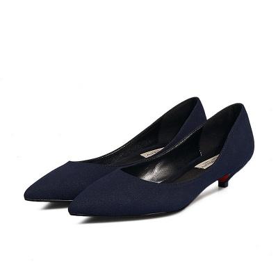 Woman Pointed Toe Kitten Heel Wedding Shoes_10