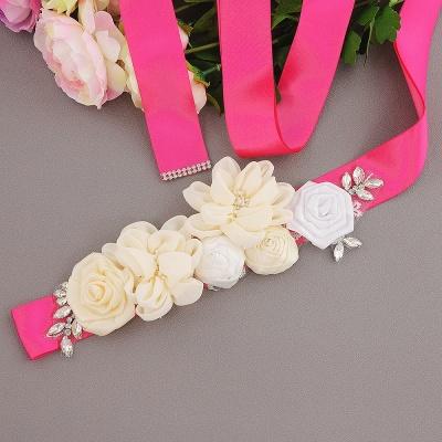 Fashion Chiffon Flowers Wedding Sash with Beadings_9