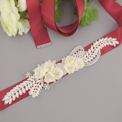 Handmade Flower Pearl Wedding Sash with Beadings_6