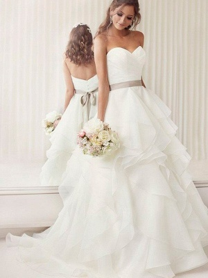 Alluring Organza Ruffles Ribbon Wedding Dresses |Sleeveless Chapel Train Sweetheart Bridal Gowns_1