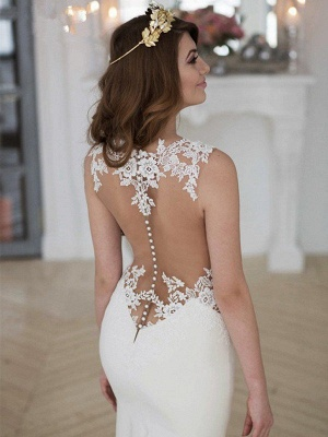 Sexy Mermaid Lace Wedding Dresses | Sweep Train Applique Sleeveless Scoop Bridal Gowns_5