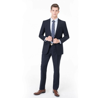 Peak Lapel Two Pieces with Pants Two Button Comfortable Casual Suits_3
