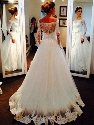 Stunning Long Sleeves Puffy Off-the-Shoulder Tulle Wedding Dresses_3