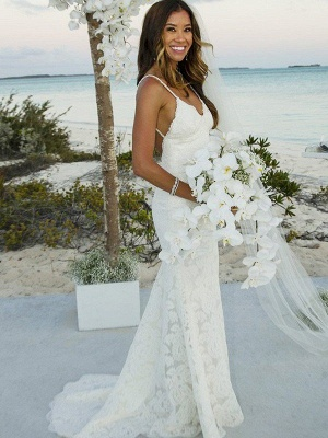 Spaghetti Straps Sweep Train Lace Sleeveless Sexy Mermaid Wedding Dresses_1