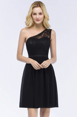 A-Line  Lace One-shoulder Short-Sleeves Knee-Length Bridesmaid Dresses with Sash_1